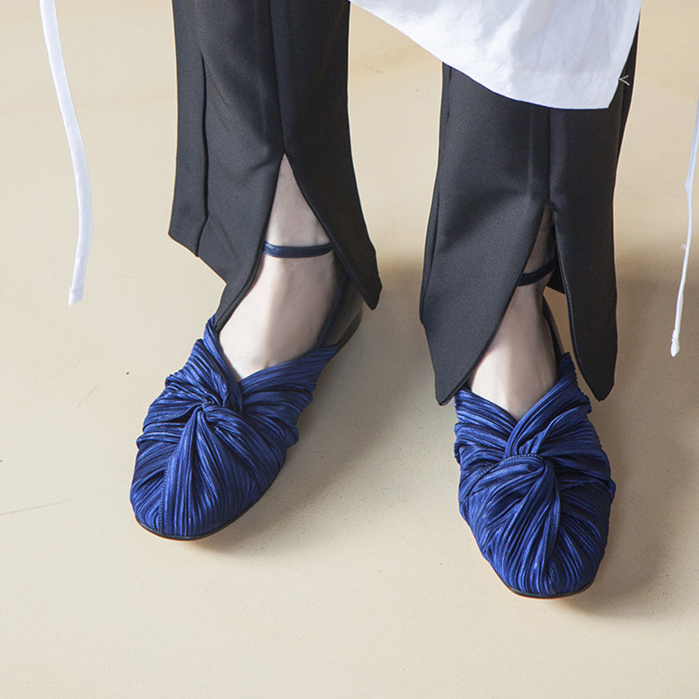 Twist pointed flat shoes_Blue